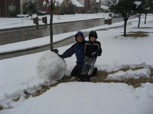 Ethan and Greg with a lovely mid-section for our snowman!