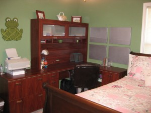 [A view of my new corner desk, hutch and lateral file]