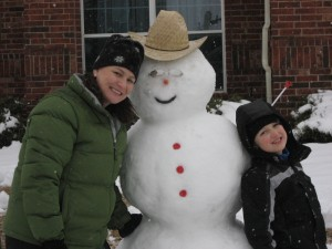 Leigh & Ethan with the final Snowcowboy product